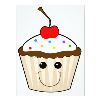 happy smiley face kawaii cupcake character 6.5x8.75 paper invitation card