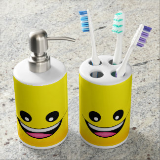 Happy Smiley Face Soap Dispenser And Toothbrush Holder