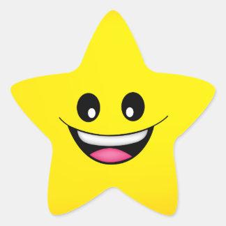 Happy Smiley Face Star Sticker