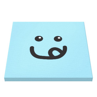 Happy Smiley Yummy Face_baby blue Gallery Wrapped Canvas