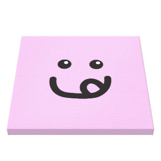 Happy Smiley Yummy Face_cotton candy pink Gallery Wrap Canvas
