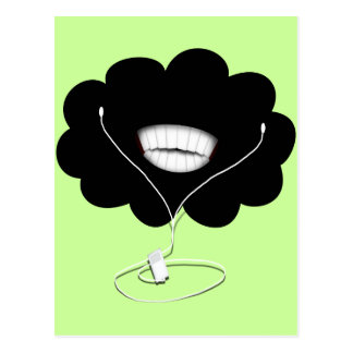 Happy Smiling Black Cloud w/Ear Buds Postcard