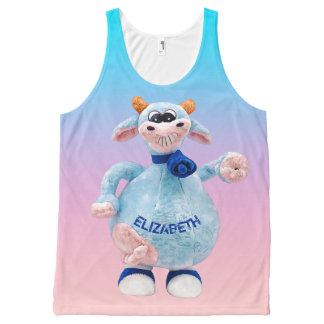 Happy Smiling Blue Pink Cow With Your Name Drawing All-Over Print Tank Top