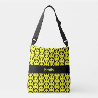 Happy Smiling Faces Smiley Yellow Black, Add Name Crossbody Bag