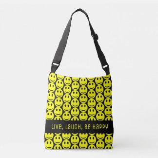 Happy Smiling Faces Smiley Yellow Black Be Happy Crossbody Bag