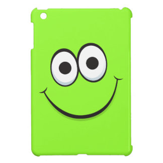 Happy smiling green cartoon smiley face funny cover for the iPad mini