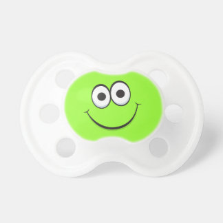 Happy smiling green cartoon smiley face funny pacifiers