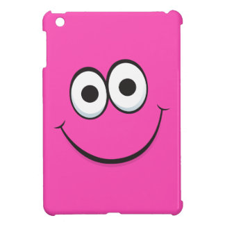 Happy smiling hot pink cartoon smiley face funny iPad mini cover