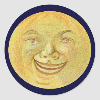 Happy Smiling Moon Face Classic Round Sticker