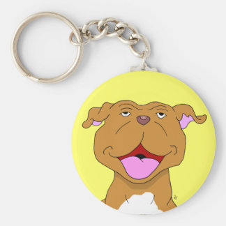 Happy Smiling Pit Bull Keychain