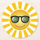 Happy Smiling Sun Round Paper Coaster