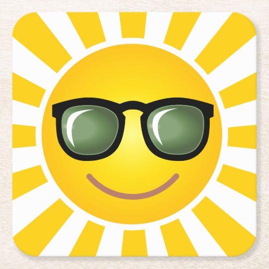 Happy Smiling Sun Square Paper Coaster
