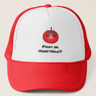 Happy Smiling Tomato Fruit Vegetable Kawaii Emoji Trucker Hat