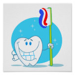 Happy Smiling Tooth With Toothbrush