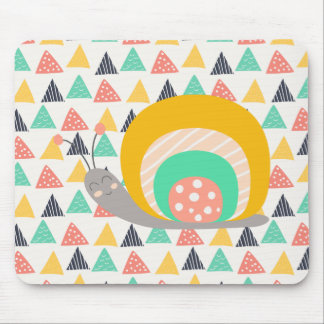 Happy Snail on Triangles Mouse Pad