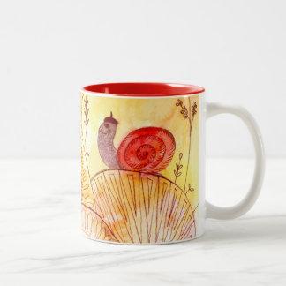 happy snail Two-Tone coffee mug