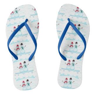 Happy Snow Couple Waving Hi Holiday FlipFlops Thongs
