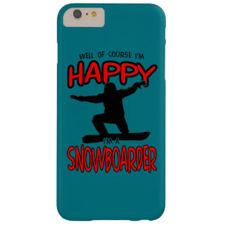Happy SNOWBOARDER (Black) Barely There iPhone 6 Plus Case