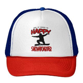 Happy SNOWBOARDER (Black) Cap