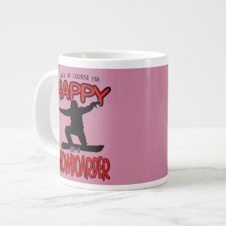 Happy SNOWBOARDER (Black) Large Coffee Mug