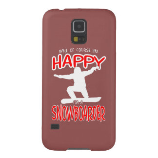 HAPPY SNOWBOARDER in WHITE Galaxy S5 Cases
