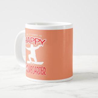 HAPPY SNOWBOARDER in WHITE Large Coffee Mug