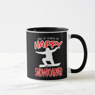 HAPPY SNOWBOARDER in WHITE Mug