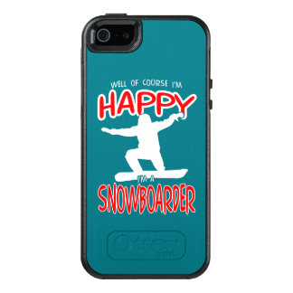 HAPPY SNOWBOARDER in WHITE OtterBox iPhone 5/5s/SE Case