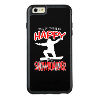 HAPPY SNOWBOARDER in WHITE OtterBox iPhone 6/6s Plus Case