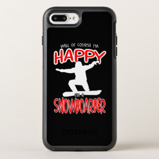 HAPPY SNOWBOARDER in WHITE OtterBox Symmetry iPhone 8 Plus/7 Plus Case