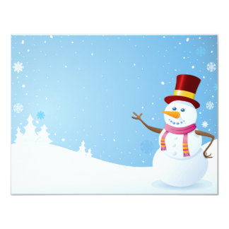 Happy Snowman 11 Cm X 14 Cm Invitation Card