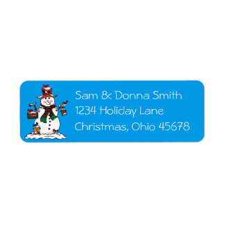 Happy Snowman and Birds - Christmas Address Labels