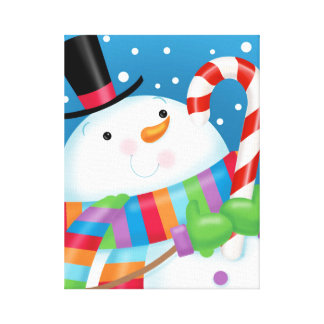 Happy Snowman and Candy Cane Canvas Print