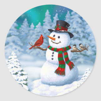 Happy Snowman and Winter Birds Classic Round Sticker