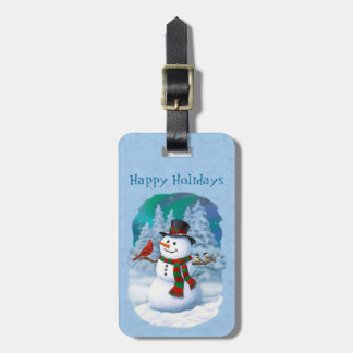 Happy Snowman and Winter Birds Luggage Tag