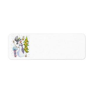 Happy Snowman Avery Label Return Address Label