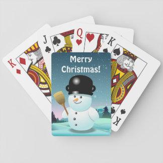 Happy Snowman Cartoon Poker Deck