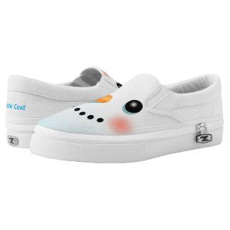 Happy Snowman Cartoon Slip On Shoes