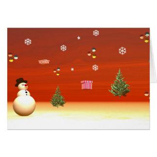 Happy snowman for Christmas Card