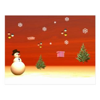 Happy snowman for Christmas Postcard