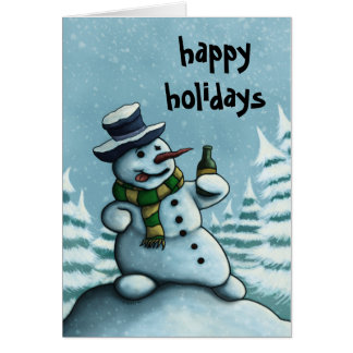 happy snowman holiday greeting card