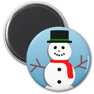 Happy Snowman Holiday Magnet