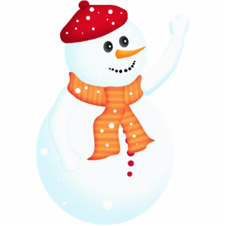 Happy Snowman Holiday Ornament Photo Sculpture Decoration