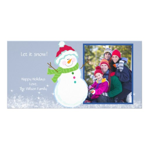 Happy Snowman Holiday Winter Photo Picture Card