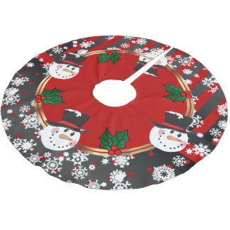 Happy Snowman Holidays Brushed Polyester Tree Skirt
