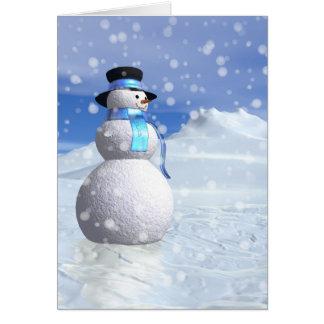 Happy snowman in winter card