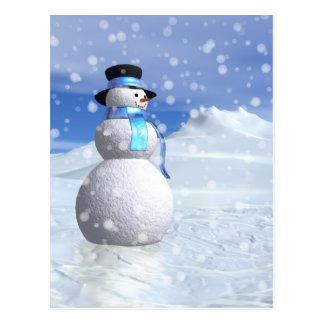 Happy snowman in winter postcard