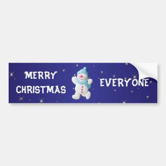 Happy snowman merry christmas everyone custom car bumper sticker