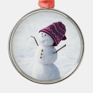 Happy Snowman Metal Ornament