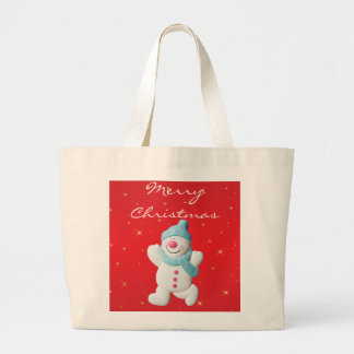 Happy snowman novelty merry christmas tote bag